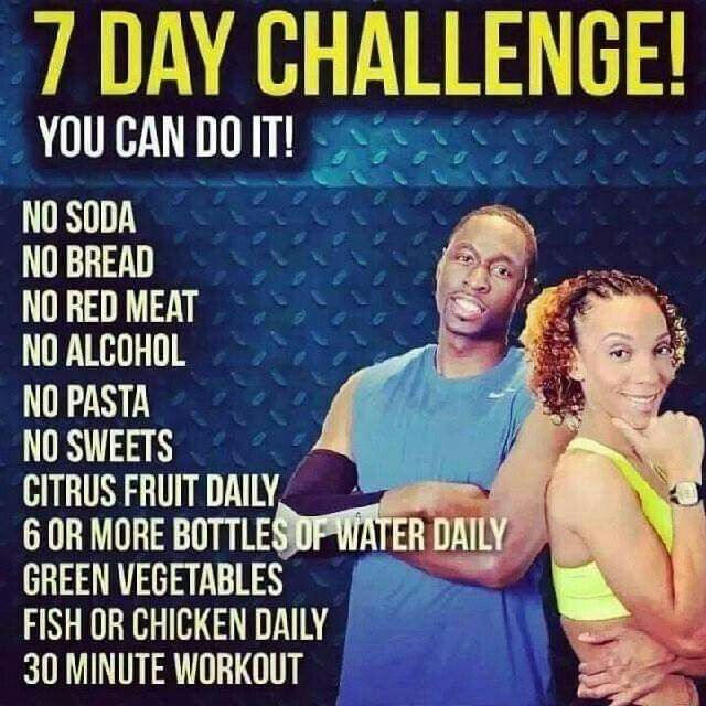 7 day challenge! Perfect way to get a kickstart on losing the baby weight!
