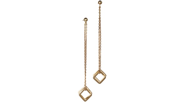 Handmade 18ct yellow gold double square drop earrings