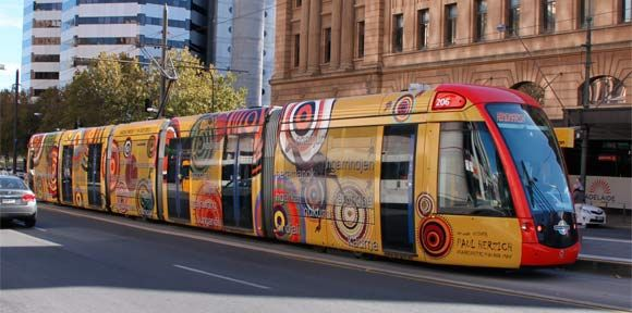 Aboriginal art on a public tram in Adelaide.