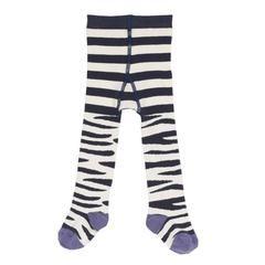 Socks & Tights - Frugi Little Norah Tights - Zebra Stripe