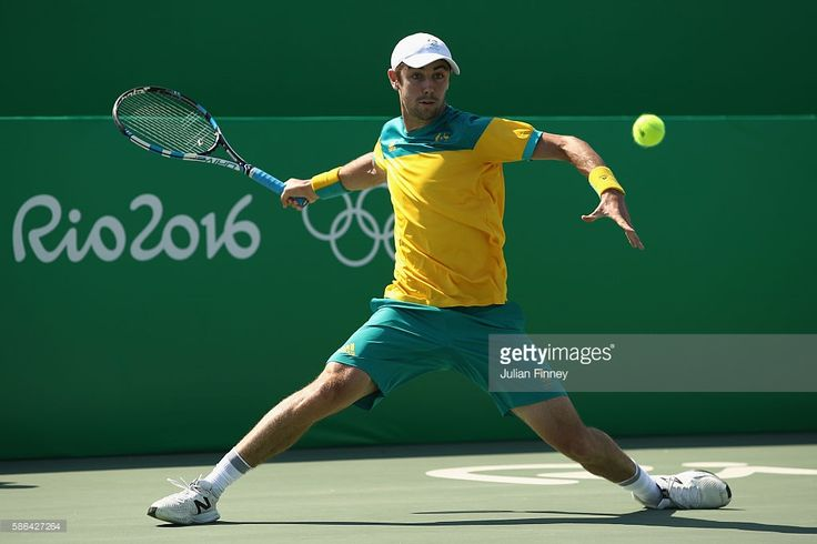 Jordan Thompson of Australia in action against Kyle Edmund of Great Britain in…
