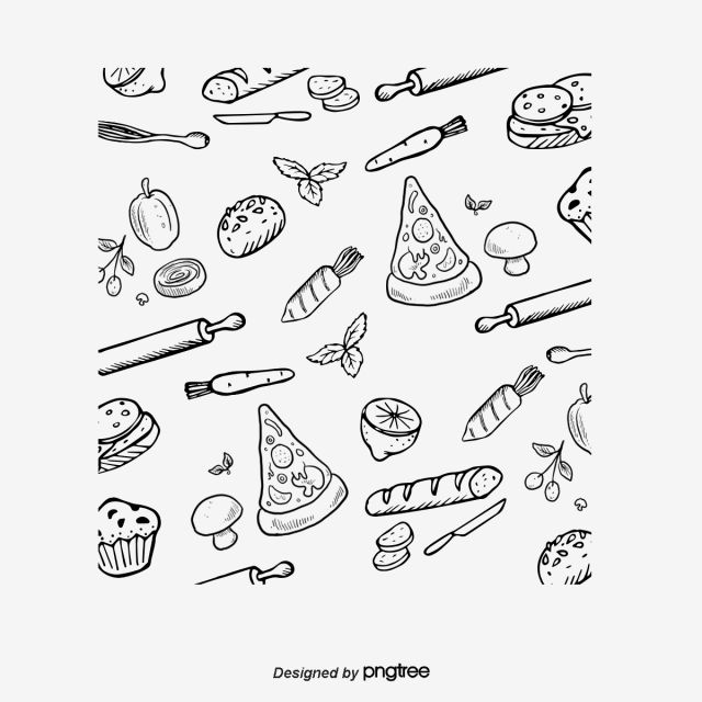 Pizza Seamless Hand Painted Background Vector Material Background