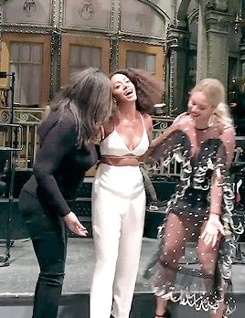 Beyoncé & Tina celebrating Solange's performance on SNL 5th November 2016