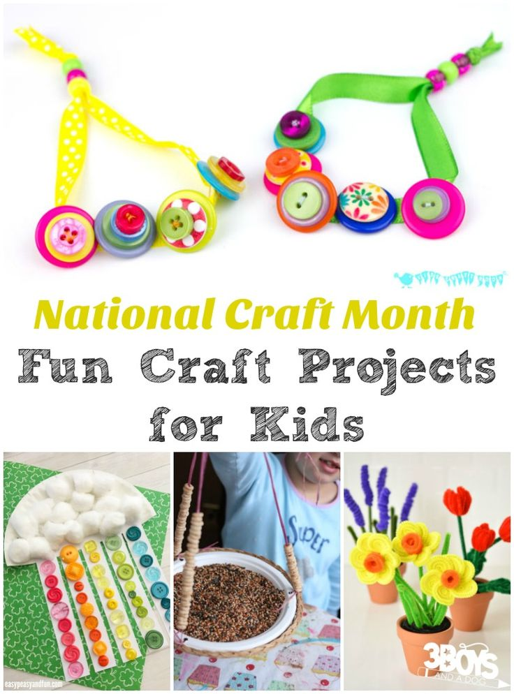 National Craft Month Fun Projects for Kids - March is the beginning of spring, so it's a great time to try spring crafts, including rainbows, flowers, baby animals, and more!