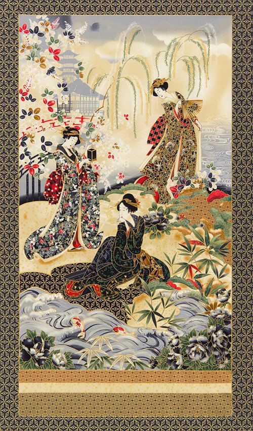 Japanese Asian Quilting Fabric - Oriental Traditions - Imperial 12 - Geisha Gathering Panel - Crimson (Red, Grey & Gold)