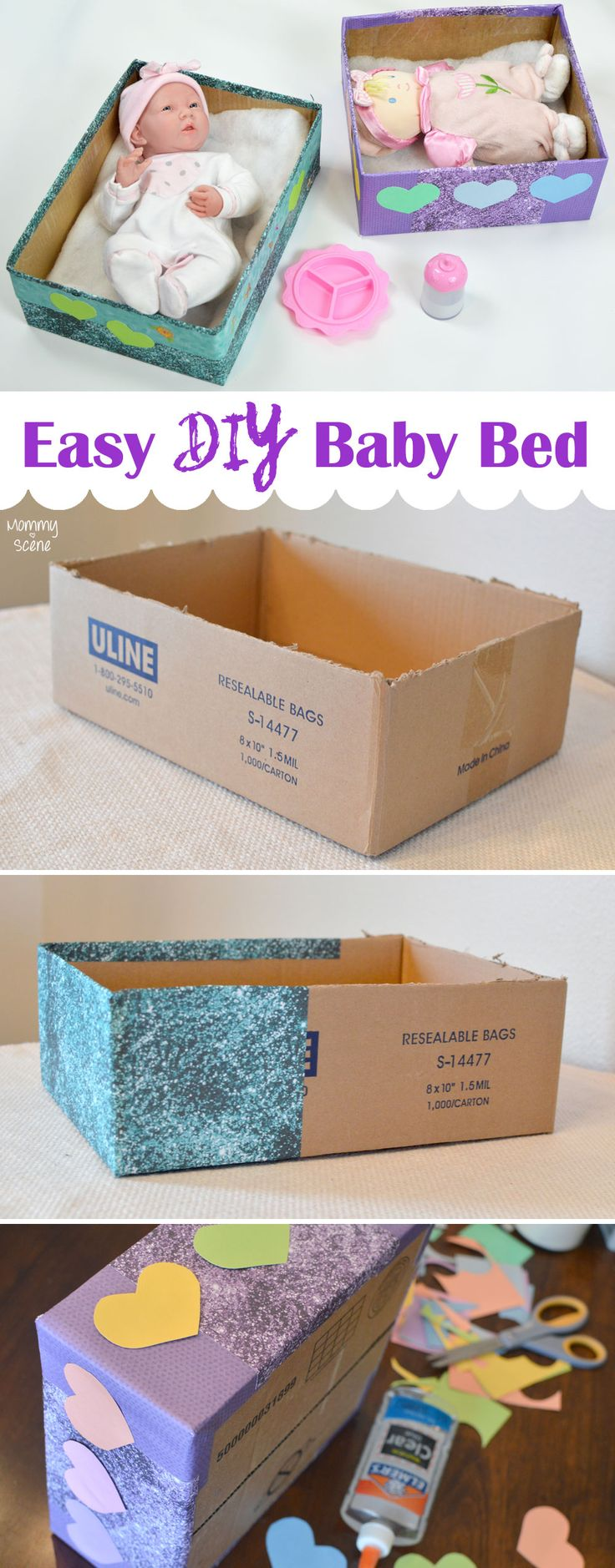Make a DIY doll bed from a cardboard box - Mommy Scene