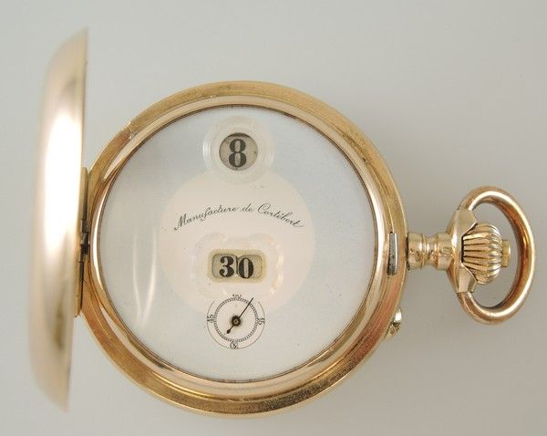 Scarce 14K Gold and Enamel JUMP DIGITAL Pocket Watch by Cortebert with a PALLWEB...