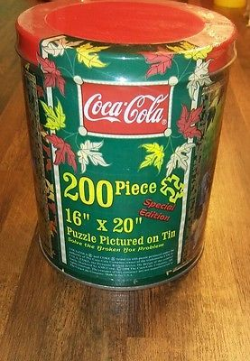 """Coca Cola Special Ed. 1998 200 Pc Puzzle, Collector Tin 16"""" x 20"""" Factory Sealed"""