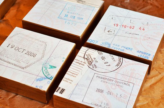 A DIY Wall Gallery Idea for your Travel Mementos - photocopy your passport stamp and glue to wood blocks turning it into art. @bridget maupin (not sure if that worked or not): Diy Ideas, Diy Passport, Craft, Passportart, Diy'S, Passport Art, Brooklyn Limestone, Travel, Passport Stamps