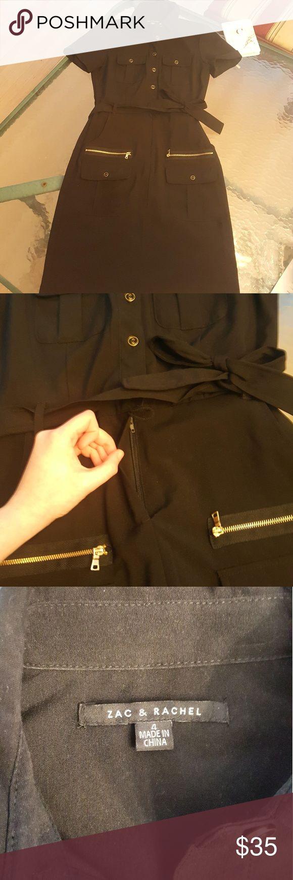 Zac & Rachel LBD Black & Gold Work Dress Like NEW Like New, Worn once, great conditon, black color, gold zippers for front pockets, midi dress Zac & Rachel Dresses Midi