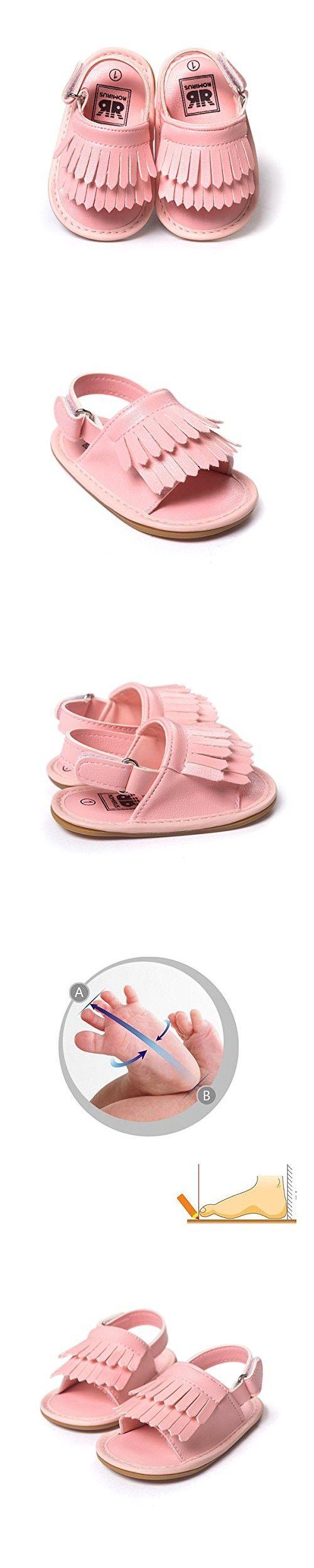 QGAKAGO Infant Baby Girls Moccasins Tassels Premium Soft Sole Anti-Slip Summer Prewalker Toddler Sandals (L: 5.5 inches(12~18 months), Pink)