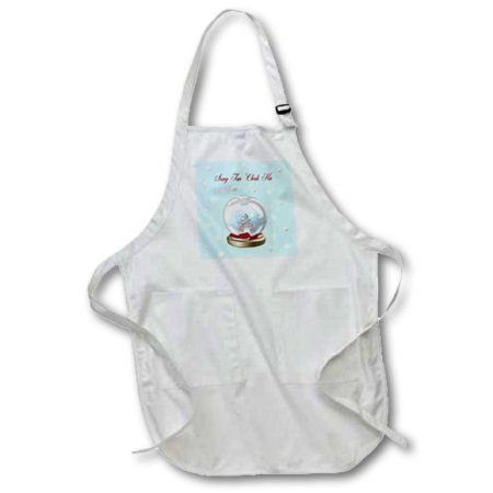 3dRose Snow Globe Deer, Tree and Snowflakes, Merry Christmas in Korean, Medium Length Apron, 22 by 24-inch, With Pouch Pockets
