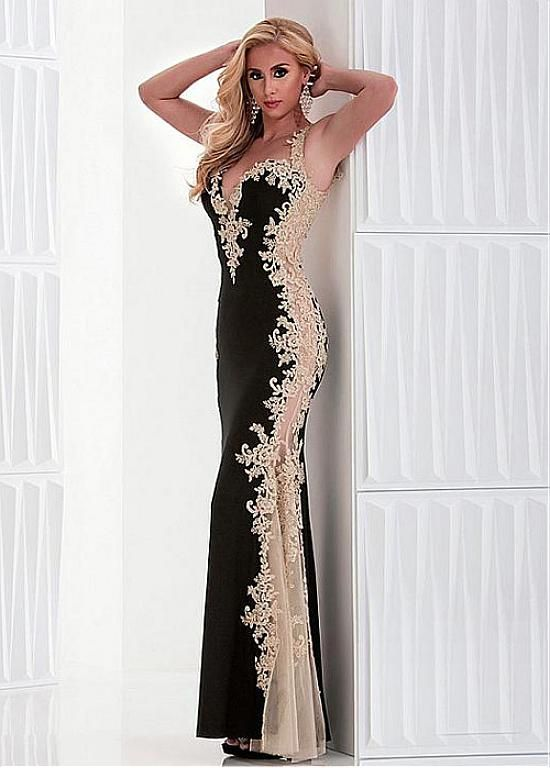 Marvelous Tulle & Stretch Satin Sweetheart Neckline Sheath  Evening Dresses with Beaded Lace Appliques