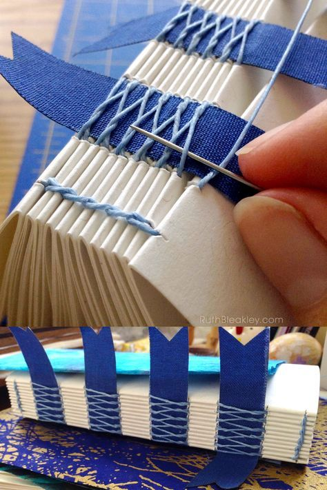Blue French Link Stitch Journal Handmade by Ruth B…