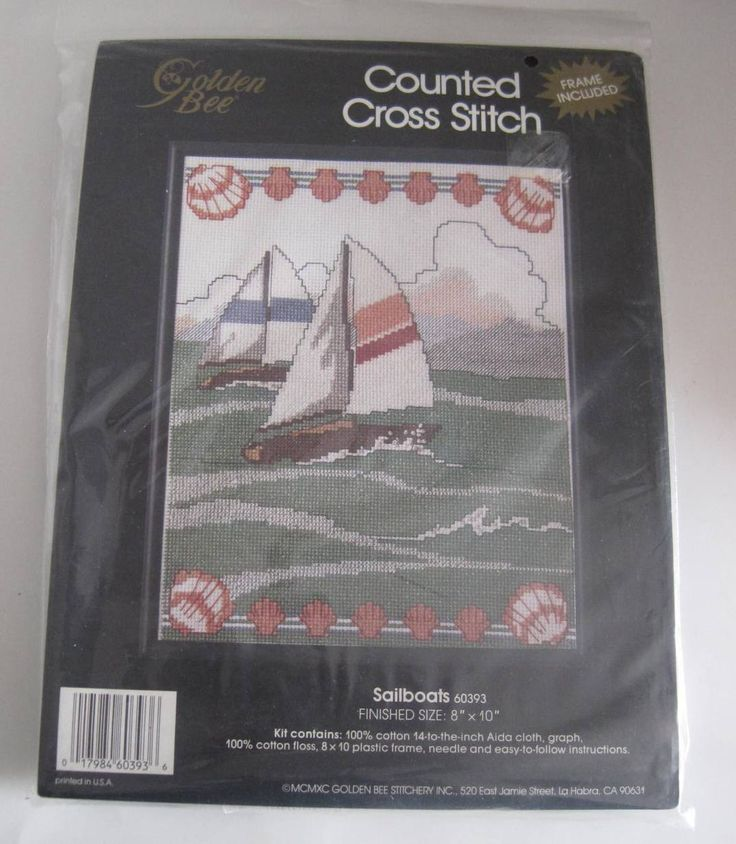 Sailboats Counted Cross Stitch Kit Frame Sealed by RetroExchange on Etsy