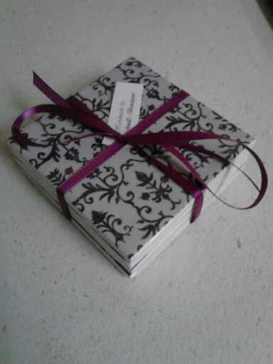 Set of 4 decoupaged tile coasters. Grey and black damask by BlackwellsBoutique
