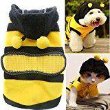 Diseño de abeja lindo perro Polar polar tela ropa gato ropa cachorro felpa con capucha invierno abrigo ropa accesorio del traje para perros mascotas con sombrero talla L