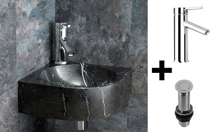 Wall Mounted Modici 30cm Black Marquine Marble Corner Sink With Mixer ...