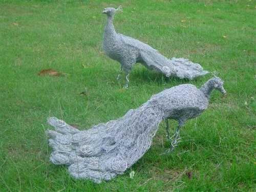Metal Wild Bird sculpture by artist Lucia Corrigan titled: 'Peacock (Metal Wire Netting Garden Sculptures)' £200 #sculpture #art