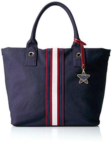 Damen Umhängetasche blau Canvas W/ Terry Cloth Navy/red Tommy Hilfiger HIT7I4Z