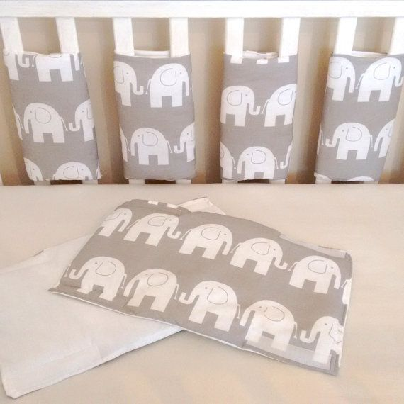 Grey elephant cot bar bumpers by Tinytoadcreations on Etsy