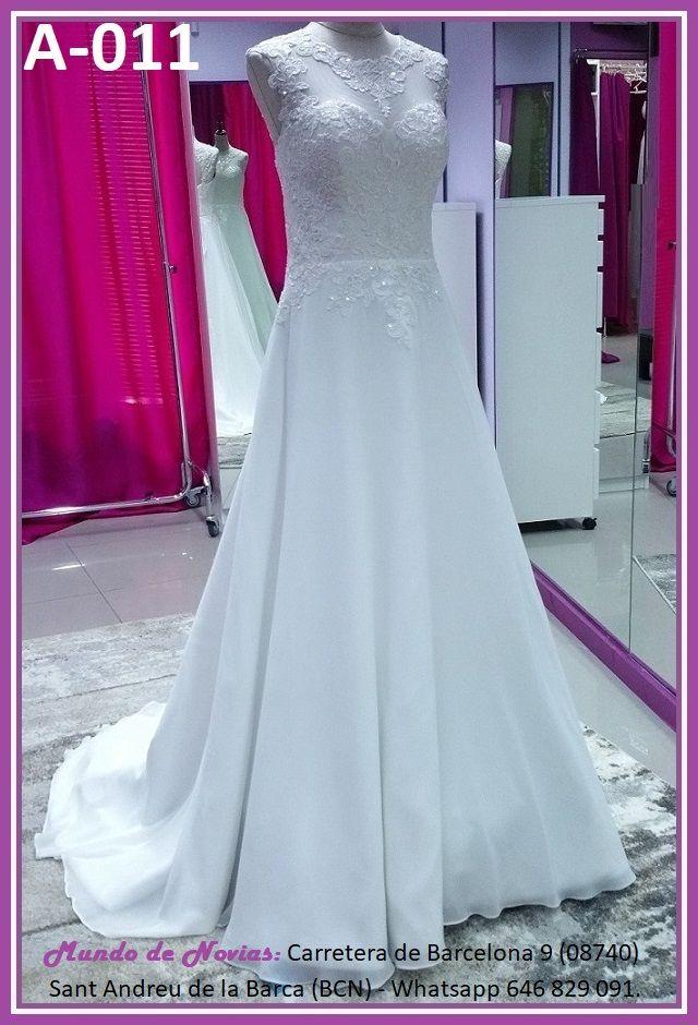 Elegante y original Vestido de Novia de Corte A con escote corazón, de Gasa y Encaje, de la marca Novias Ukraine.