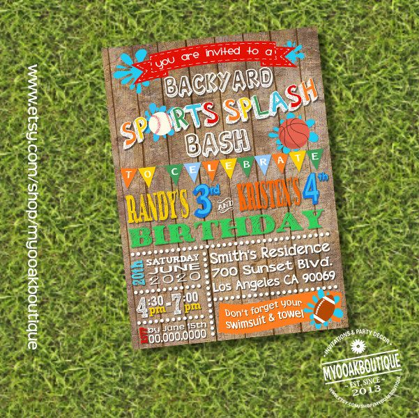 Waterslide Backyad Birthday Bash Splish Splash Party Invitation Combined Joint Siblings Wood Digital Printable 13575 By Myooakboutique