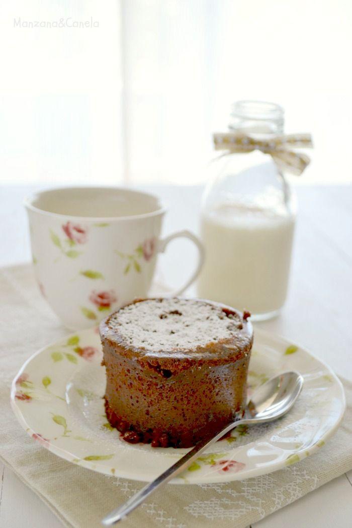 Bizcocho de chocolate en 1 minuto: en taza y al microondas. 1 minute chocolate mug cake.