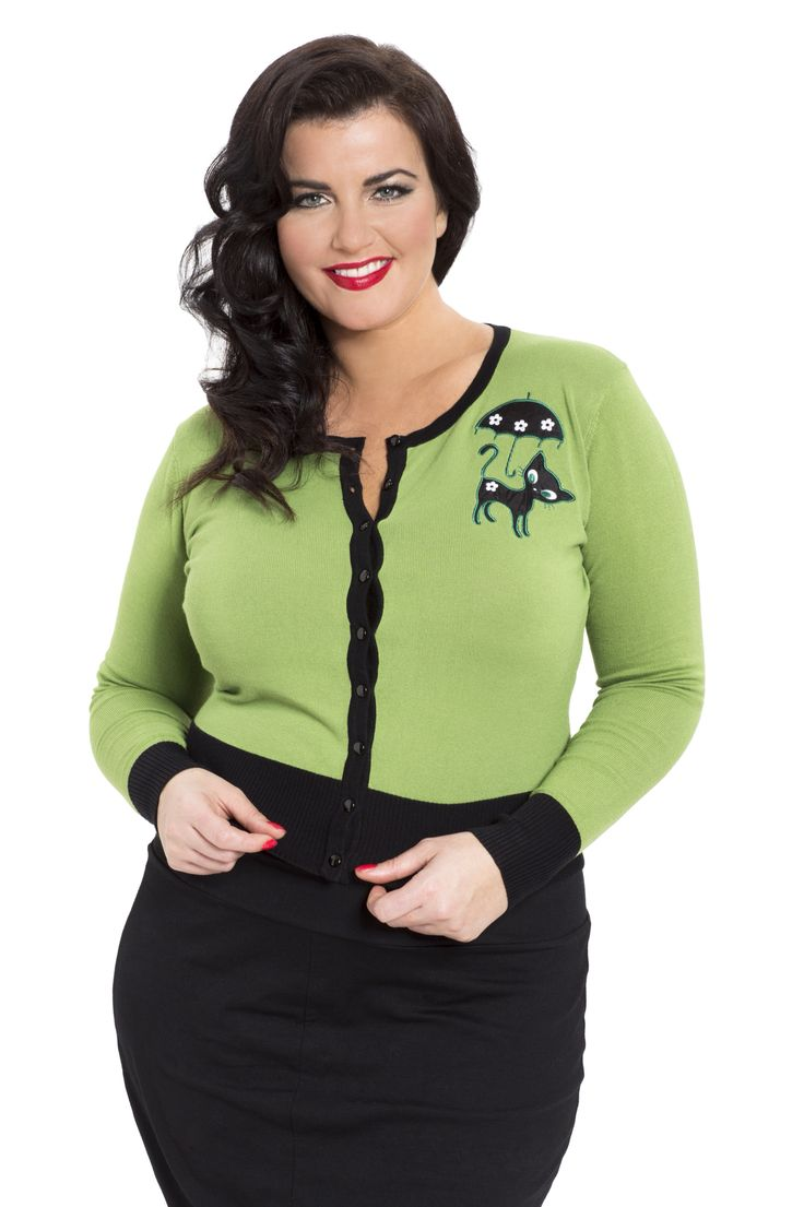 A cute retro style cardigan with black cat & umbrella motif! Available online in sizes 16-26 -->  http://www.claireabellascloset.co.uk/vintage/vintage-plus-size/product/1592-voodoo-vixen-clarisa-retro-cat-cardigan-plus-size-16-26
