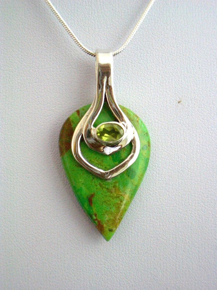 Vibrant apple-Green Australian Gaspeite and Peridot Genuine Gemstones 925 Sterling Silver Pendant Jewellery in a sterling silver chain. by Ameogem on Etsy