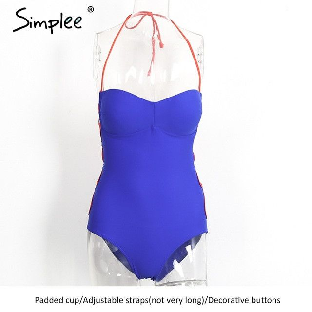 Simplee Padded sexy one piece swimsuit summer beach Bandage tube swimwear women sport suit Backless lace up monokini