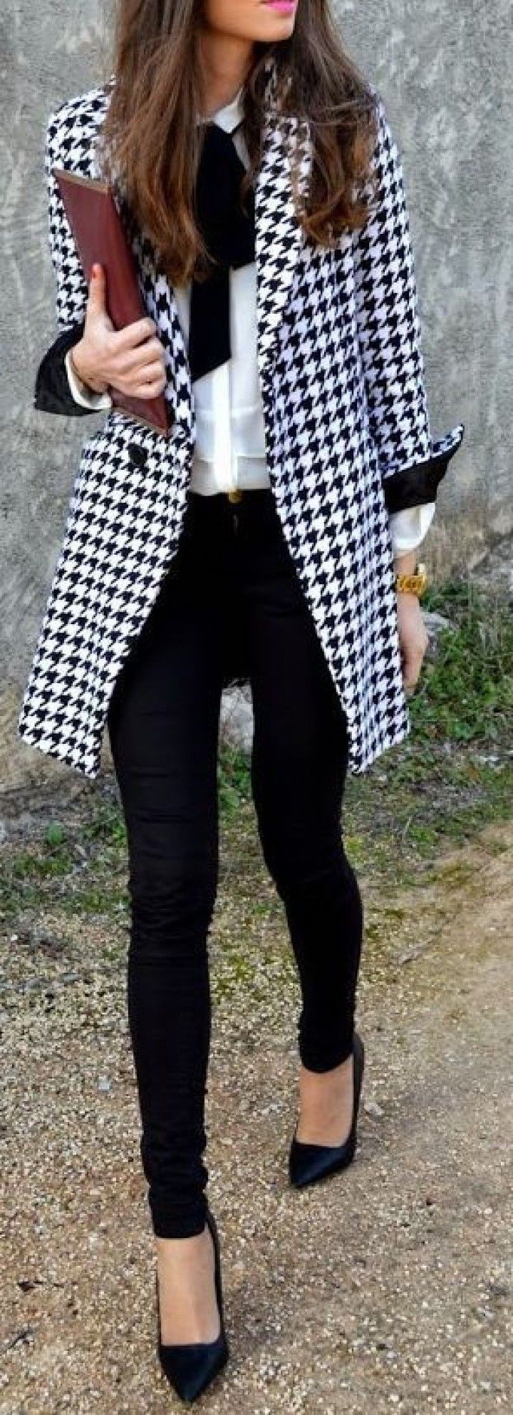 #winter #outfits / Plaid Coat - Black Skinny Jeans