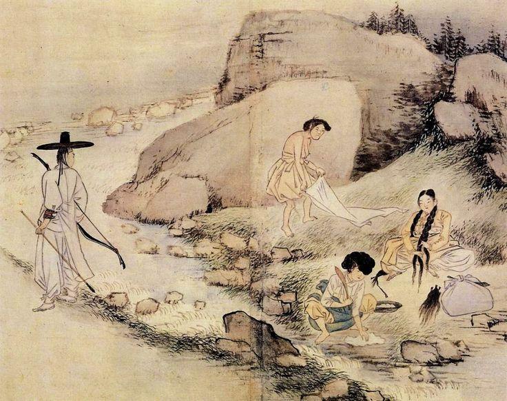 (Korea) 계변하화 by Shin Yun-bok (1758~?). aka Hyewon. Joseon Kingdom, Korea. colors on paper. National Treasures No.135. Gansong gallery, Seoul. 혜원풍속도첩. 계변하화.