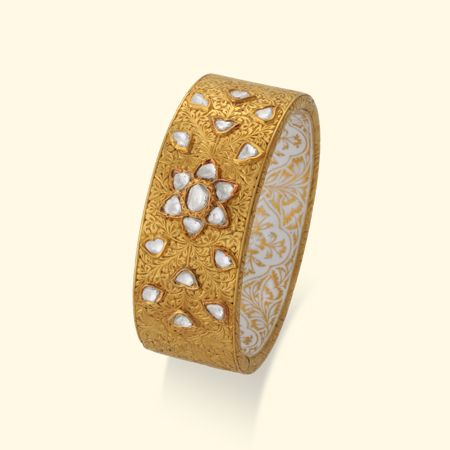 Frosted 22k Gold Hand Cuff (Kada) With Uncut Diamond (Polki) And White Enamel (Meenakari)