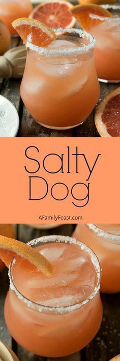 Salty Dog - A delicious cocktail made with grapefruit juice, vodka or gin, and served is a salted-rimmed glass. {wine glass writer} #cocktailrecipes