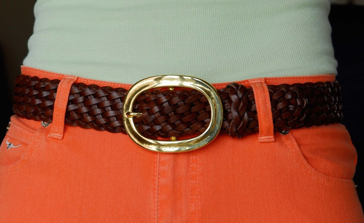solid brass oval detachable buckle on handplaited Italian leather belt - all Made In England! £140