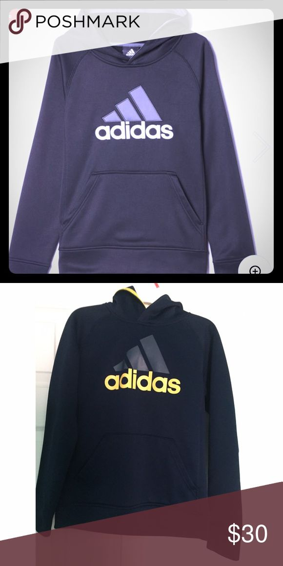 ✨TECH FLEECE HOODIE NAVY - NWOT✨ This boys' hooded sweatshirt is sized for kids and made of fleece with a kangaroo pocket and a big adidas logo on the chest. climawarm™ allows air to circulate so he stays warm without overheating. Breathable climawarm™ keeps you warm and comfortable in cold-weather conditions Kangaroo pocket Hood with contrast inner edge; Raglan sleeves; Cuffed sleeves and hem Large two-color adidas brandmark on chest Regular fit  100% polyester fleece 🚫TRADES Adidas Shirts…