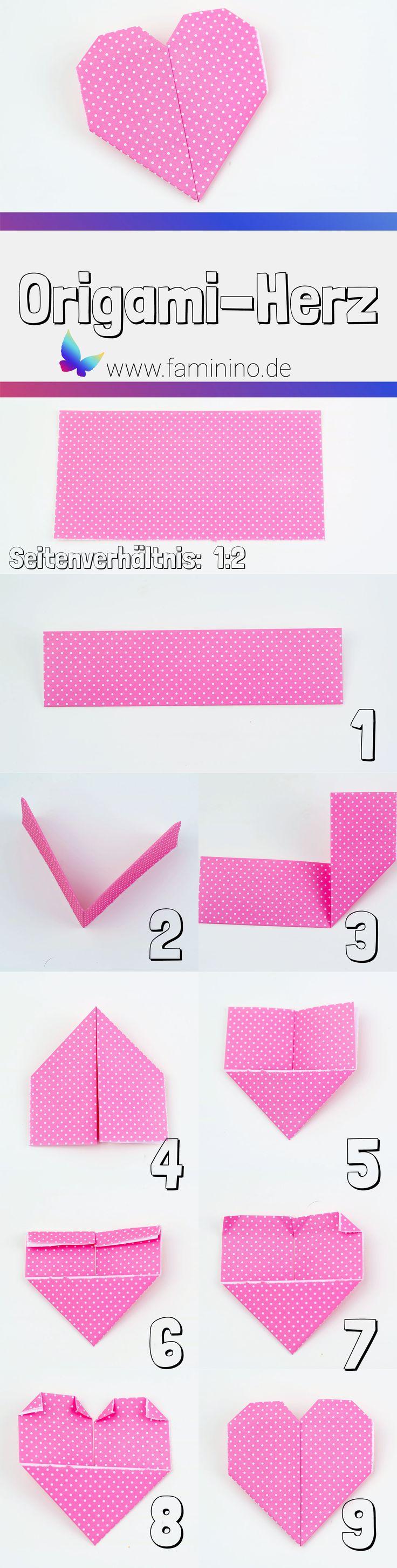 Valentinstags-Karte basteln: 5 Ideen für schöne Karten (inkl. Karten zum kostenlos ausdrucken) #valentinstag #origami