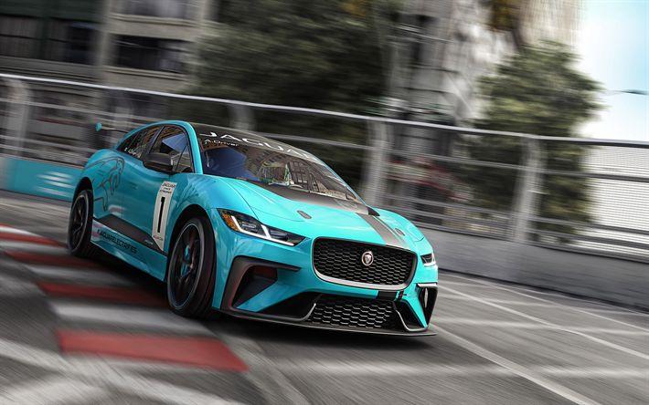 Descargar fondos de pantalla Jaguar I-Ritmo, eTrophy auto de Carreras, 2018, el ajuste de la I-Ritmo, pista de carreras, turquesa Jaguar