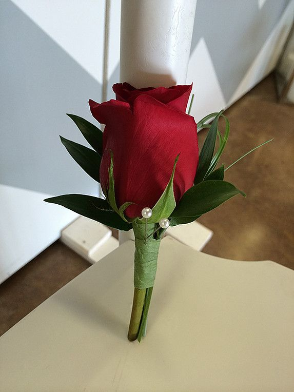 Classic Red Rose #Boutineer Price: $9.98 Single red rose with greens.