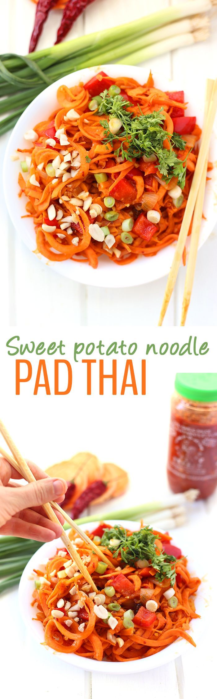 Swap the rice noodles for sweet potato in this healthy Sweet Potato Noodle Pad Thai. This tangy and spicy thai recipe makes an easy 30-minute meal for weekday dinners!