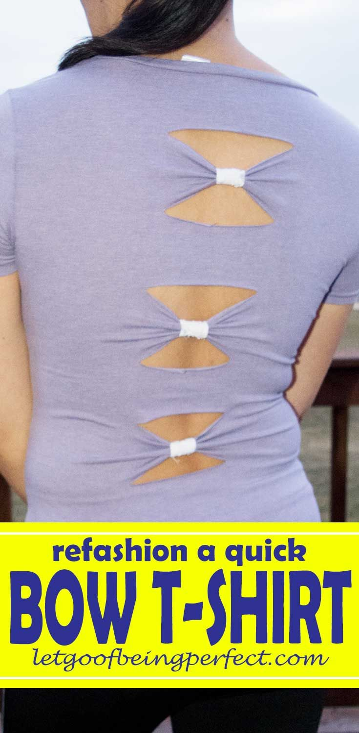 Simple Cut Bows T-Shirt Refashion Make a simple cut bow t-shirt refashion. A step-by-step, diy sewing or no-sewing tutorial. #upcycle #refashionista #recycle #clothing #crafts #crafting
