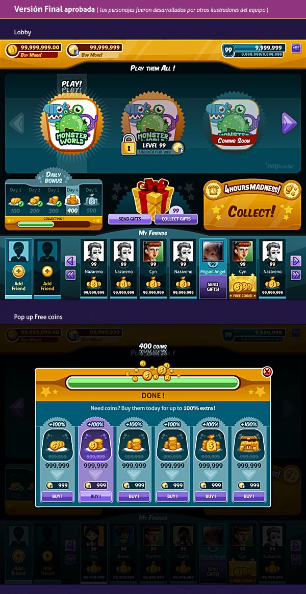 Slots Social Game | GUI Design on Behance