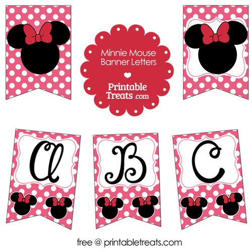 Pink Minnie Mouse Happy Birthday Banner from ...