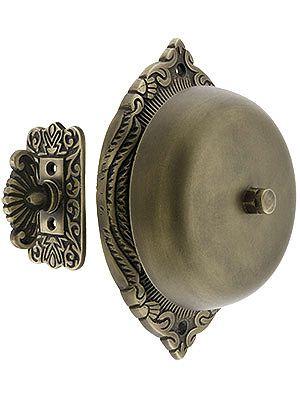 Mechanical Doorbell. Transitional Victorian Mechanical Door Bell In Solid Brass