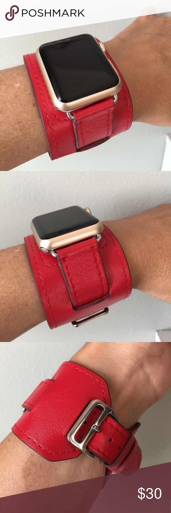 ⚪️Red Apple Watch Leather Cuff SILVER HW⚪️ Apple Watch cuff band, genuine high quality leather, SILVER hardware.  It comes with 38mm or 42mm adapters. Please select your size when you purchase. The adapters also fit the Apple Watch I, 2 and Sport.   I have other band colors, hardware colors and styles in my closet. Check them out!   I offer 15% off if you buy two or more! Please add BOTH items to the bundle for the discount to automatically apply.    Only the band is for sale; it does not…