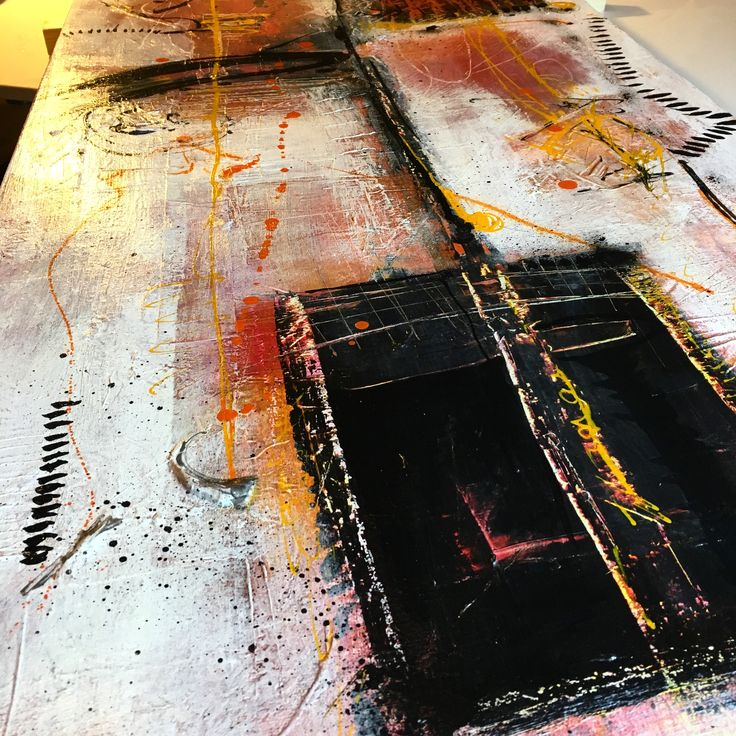 Getting ready for window display. Abstract on canvas. Acrylic Mixed media by Pauline Lindberg