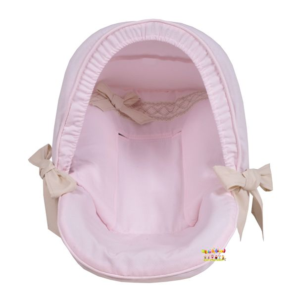Roze Maxi-Cosi hoes met strikken  #maxicosihoes #carseatcover