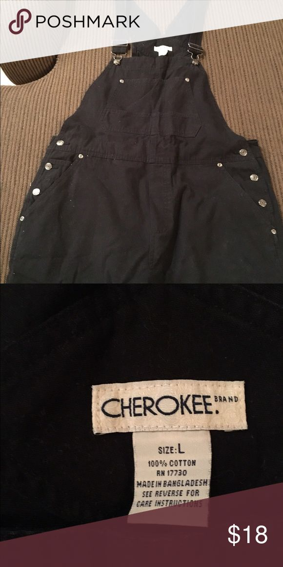 Black jean overalls Cherokee overalls - black jeans. Very comfy. Back in style. Cherokee Jeans Overalls