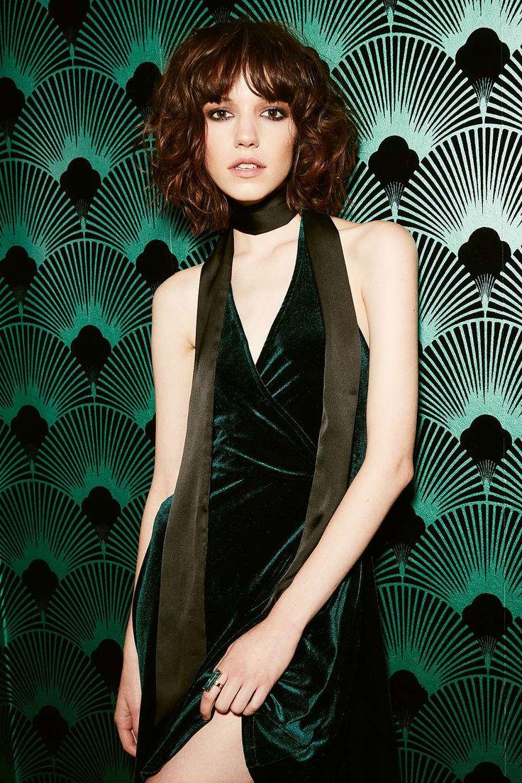 Pins & Needles Velvet Halter Neck Flippy Dress - Urban Outfitters
